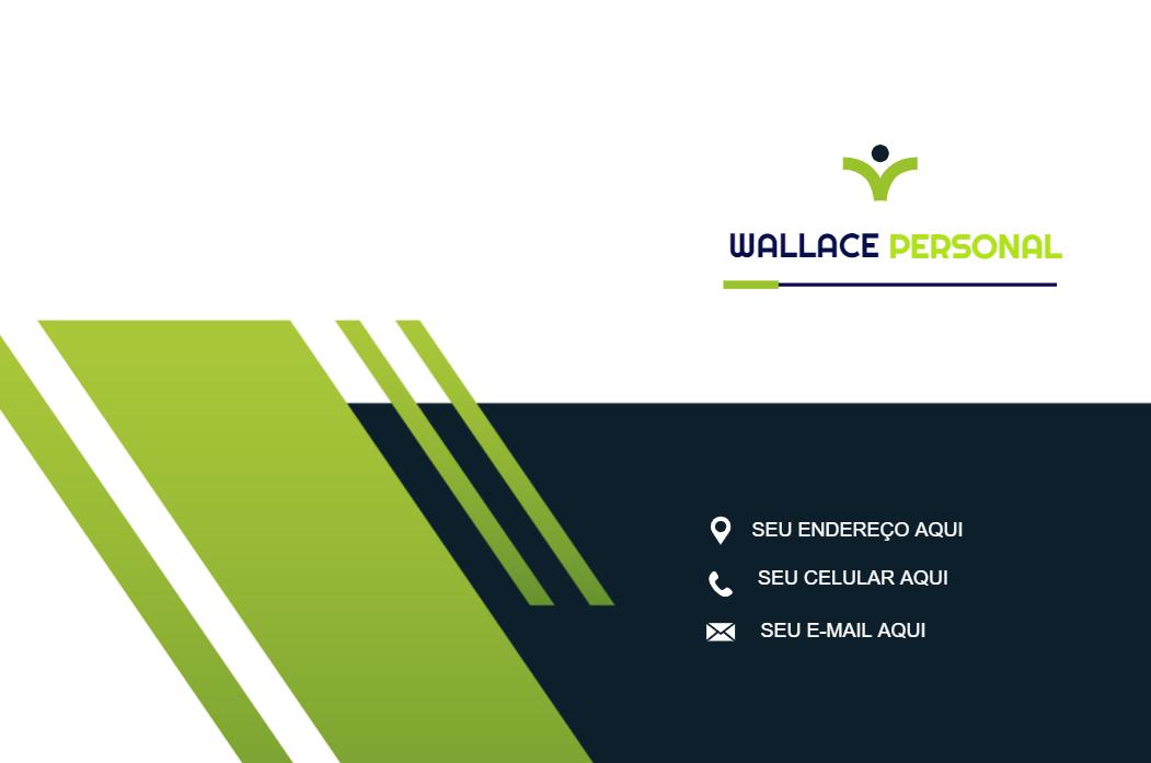 Cartão de Visita Verso Força, personal, trainer, personal, academia, treino, musculação, saúde, branco, verde, azul, online, digital, personalizado, whatsapp