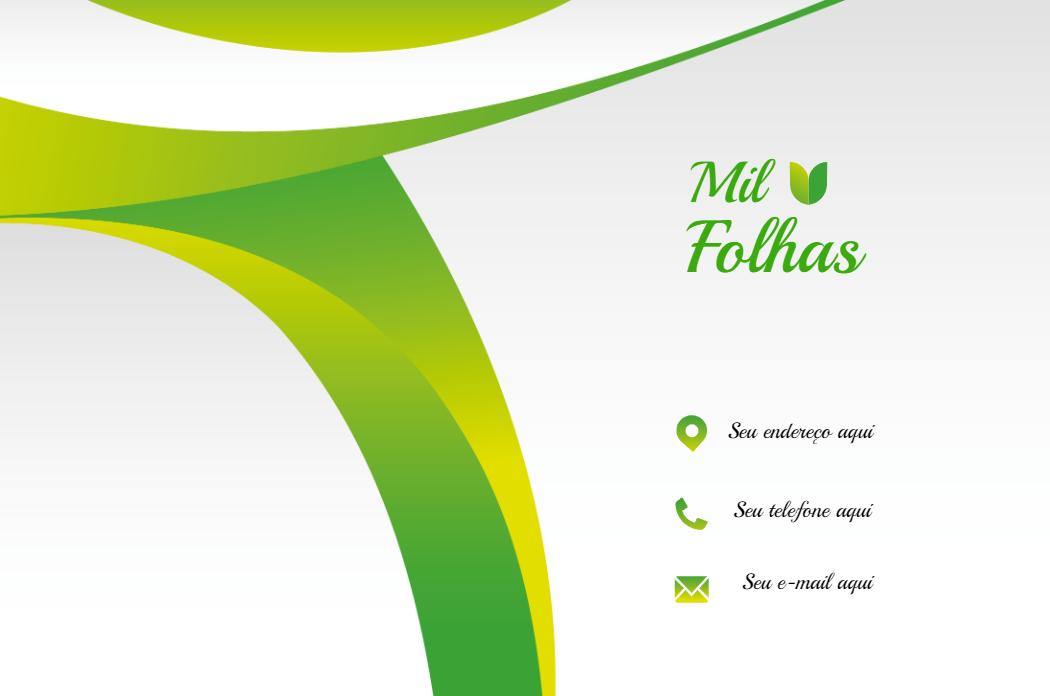 Cartão Verso Natureza, visita, produtos, naturais, lojas, folhas, comida, vegana, vegetariana, verde, branco, propaganda, divulgação, online, digital, personalizado, whatsapp