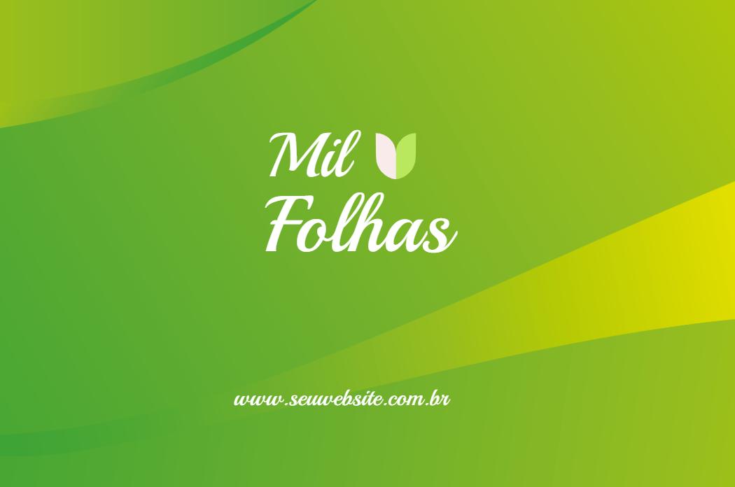 Cartão Frente Natureza, visita, produtos, naturais, lojas, folhas, comida, vegana, vegetariana, verde, branco, propaganda, divulgação, online, digital, personalizado, whatsapp