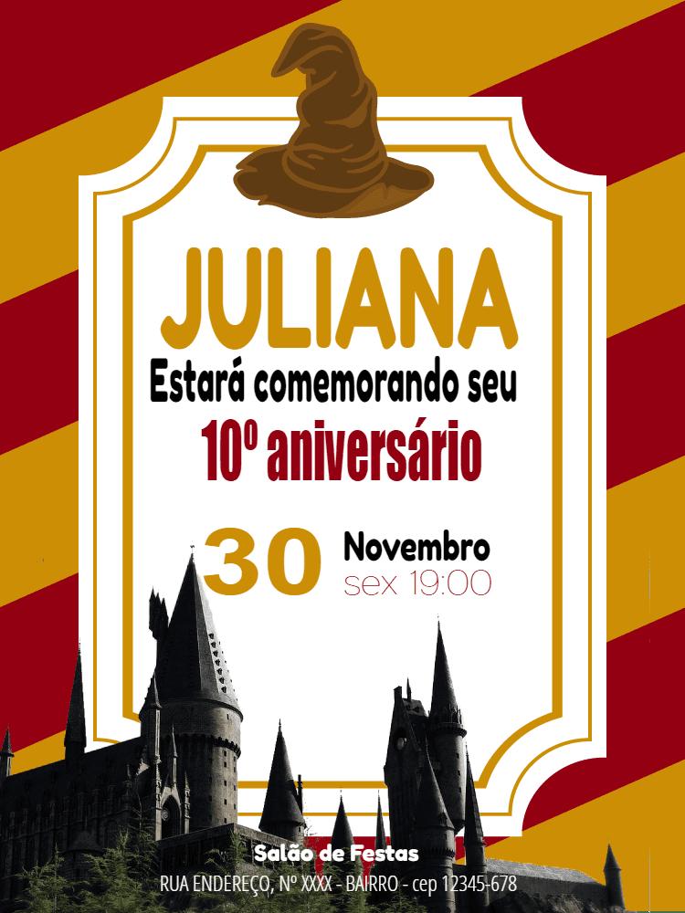 Convite aniversário Harry Potter, hogwarts, bruxo, chapéu, listras, vermelho, amarelo, escola, castelo, infantil, comemoração, celebração, online, digital, personalizado, whatsapp