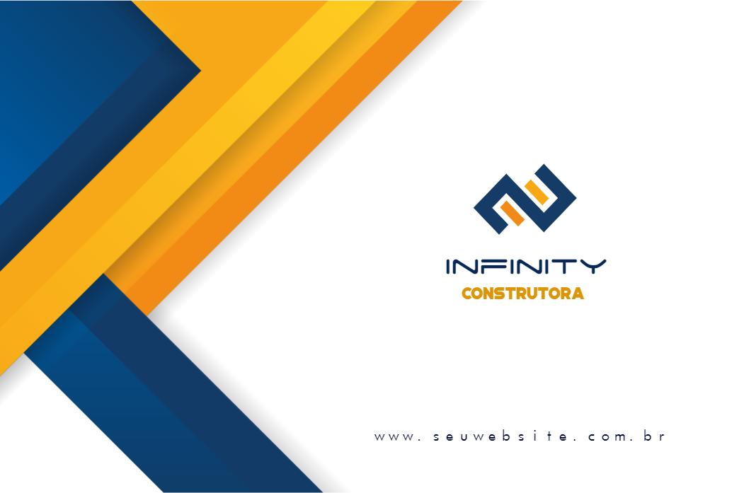 Cartão de Visita Frente Construtora, construção, construtora, imobiliária, imoveis, amarelo, azul, branco, online, digital, personalizado, whatsapp