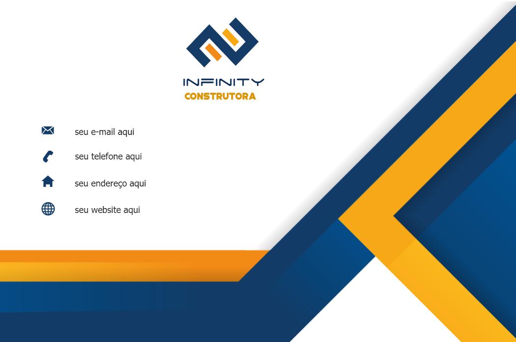 Cartão de Visita Verso Construtora, construção, construtora, imobiliária, imoveis, amarelo, azul, branco, online, digital, personalizado, whatsapp