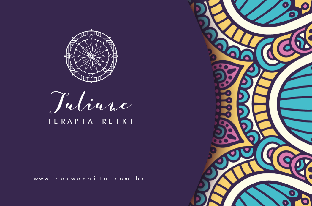 Cartão de Visita Frente Mistico, misticismo, esotérico, reiki, energia, bons, fluidos, terapia, zen, yoga, aromaterapia, guru, terapia, holística, florais, terapeuta, massoterapia, roxo, mandalas, online, digital, personalizado, whatsapp