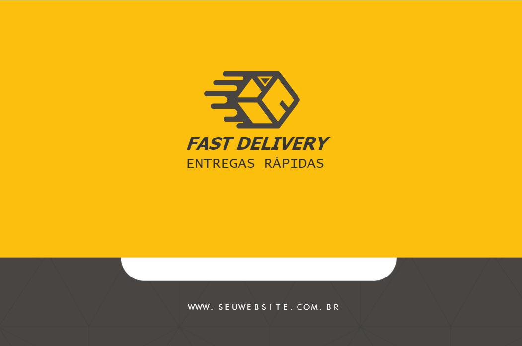 Cartão de Visita Frente Agilidade, ágil ,delivery, entrega, rápida, fast, empresa amarelo, preto, online, digital, personalizado, whatsapp