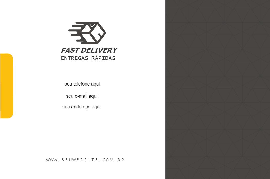 Cartão de Visita Verso Agilidade, entregador, ágil, Delivery, entrega, rápida, Fast, empresa, amarelo, branco, preto, online, digital, personalizado, whatsapp
