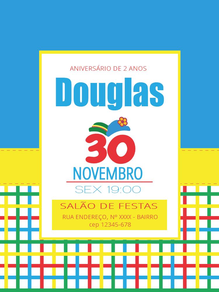 Convite aniversário Patati Patata, festa, infantil, palhaços, azul, amarelo, vermelho, menino, chá, bebê, chapéu, comemoração, celebração, online, digital, personalizado, whatsapp