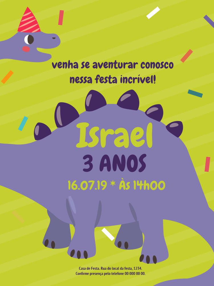 Convite Aniversário Dinossauro, festa, infantil, confete, colorido, verde, azul, menino, criança, comemoração, celebração, online, digital, personalizado, whatsapp