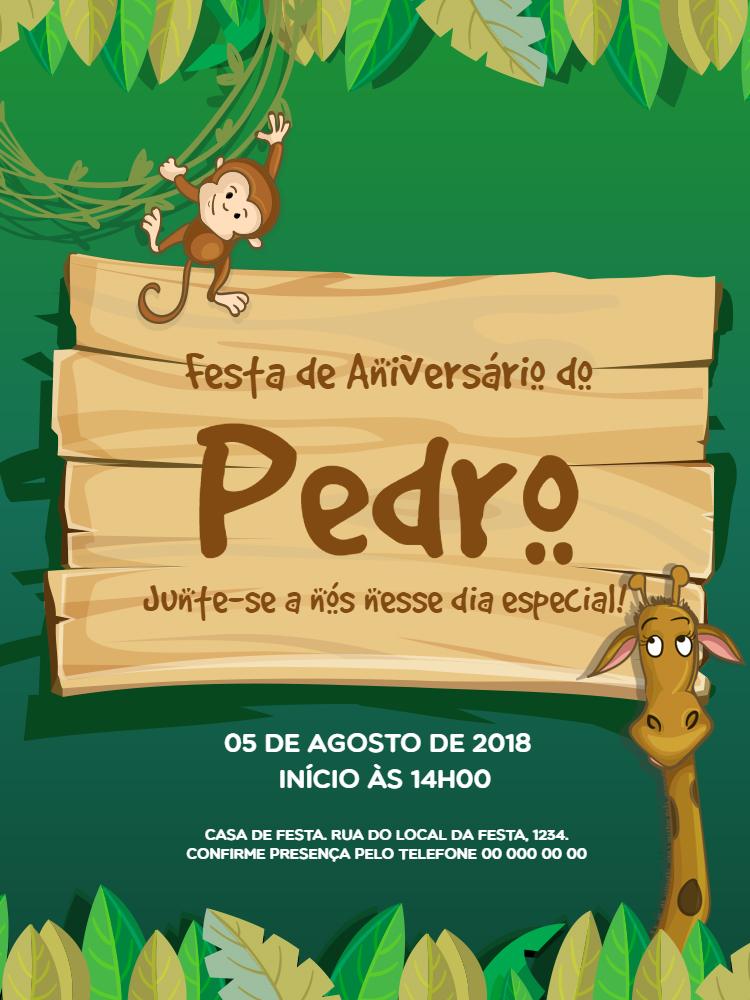 convite Aniversário Zoológico, festa, comemoração, infantil, zoológico, selva, macaco, girafa, celebração, online, digital, personalizado, whatsapp, menino