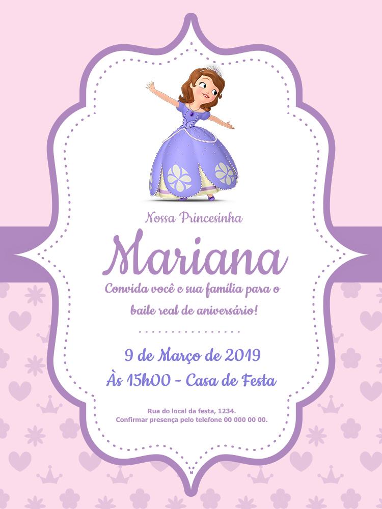 Convite Aniversário Princesa Sofia, infantil, festa, roxo, rosa, delicado, menina, criança, comemoração, celebração, online, digital, personalizado, whatsapp