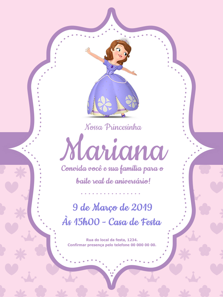 Convite Online Princesa Sofia Editar Gratis