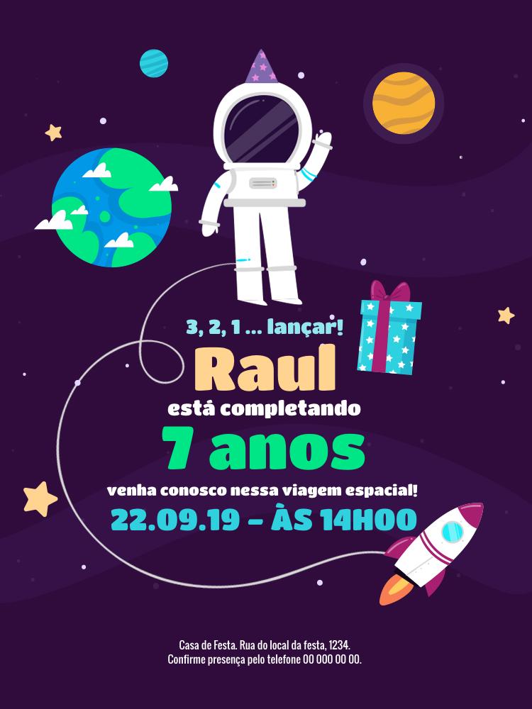 Convite Aniversário Astronauta, infantil, festa, espaço, planeta, estrela, presente, espaçonave, menino, comemoração, celebração, online, digital, personalizado, whatsapp