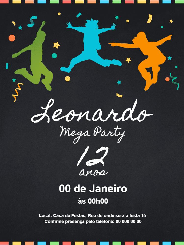 Convite Aniversário Diversão, festa, menino, dança, preto, confete, confraternização, celebração, comemoração, online, digital, personalizado, whatsapp