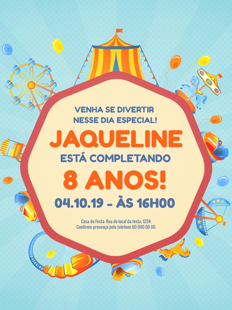 Convite Aniversário Parque de Diversões, infantil, festa, brinquedos, menino, bebê, comemoração, balão, balões, celebração, online, digital, personalizado, whatsapp