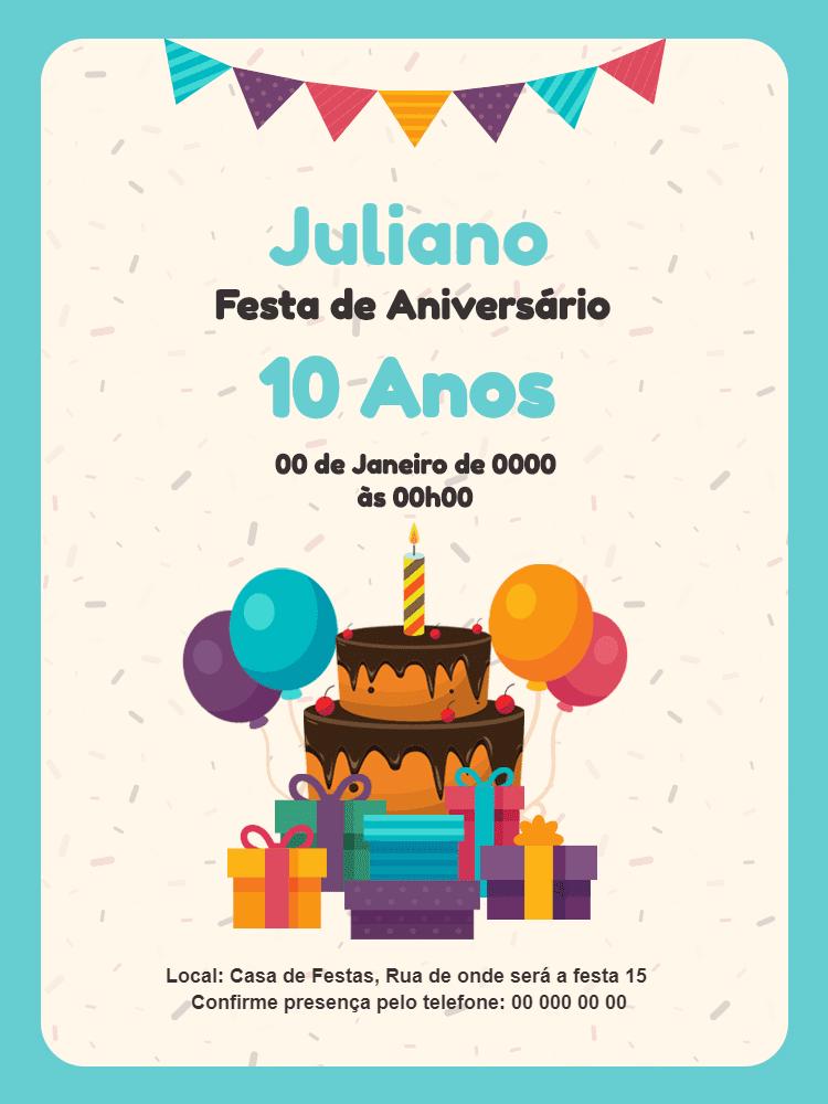 Convite Aniversário Festa, bolo, balão, menino, azul, confete, bandeirinhas, presente, balão, balões, comemoração, celebração, online, digital, personalizado, infantil