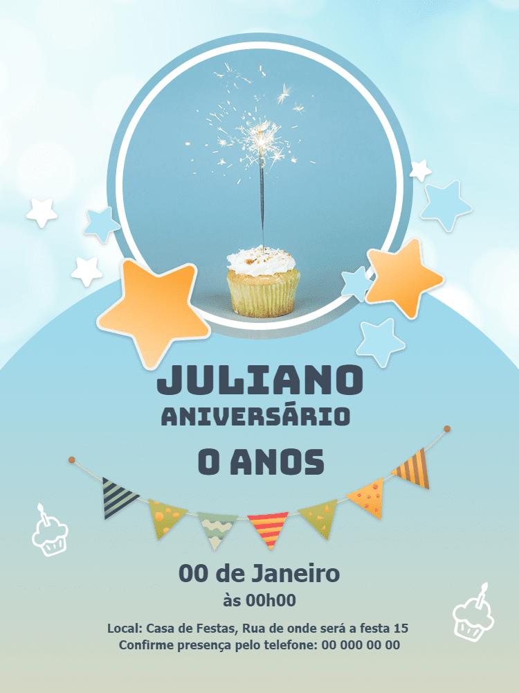 Convite Aniversário Bolo, menino, azul, estrelas, bandeirinhas, festa, celebração, comemoração, online, digital, whatsapp, chá, bebê
