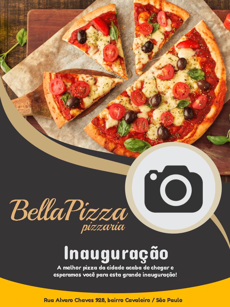 Convite Inauguração Pizzaria, pizza, foto, janta, comemoração, celebração, online, digital, personalizado, whatsapp, divulgação, propaganda