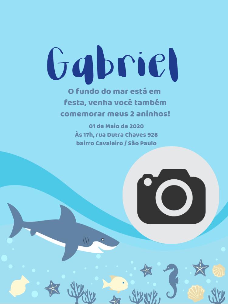 Convite Aniversário fundo do mar, água, foto, azul, infantil, tubarão, peixe, estrela, cavalo, marinho, algas, comemoração, celebração, online, digital, personalizado, whatsapp