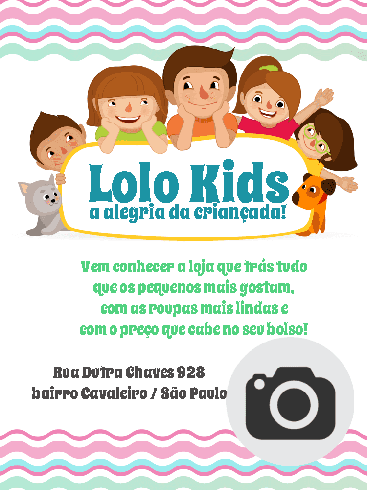 Convite Loja moda infantil, criança, gato, cachorro, foto, divulgação, celebração, online, digital, personalizado, whatsapp, colorido