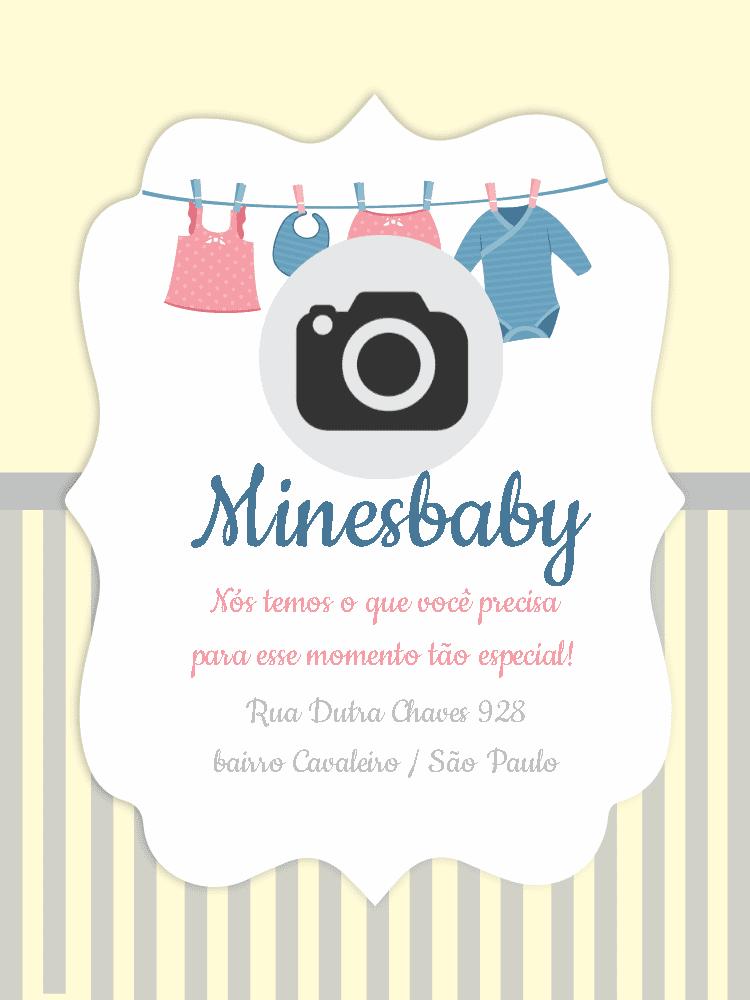 Convite Loja moda bebê, divulgação, propaganda, infantil, online, digital, personalizado, whatsapp, foto, varal, roupinhas, rosa, azul
