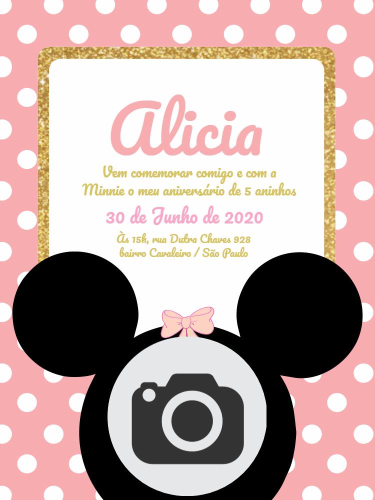 Convite Aniversário Minnie, disney, infantil, rosa, menina, bolhinhas, foto, dourado, delicado, comemoração, celebração, online, digital, personalizado, whatsapp, chá, bebê