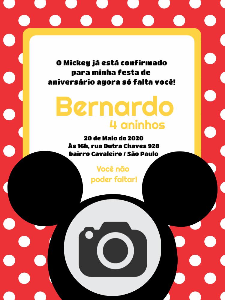 Convite Aniversário Mickey, foto, disney, vermelho, amarelo, bolhinhas, esta, comemoração, celebração, online, digital, personalizado, whatsapp, chá, bebê