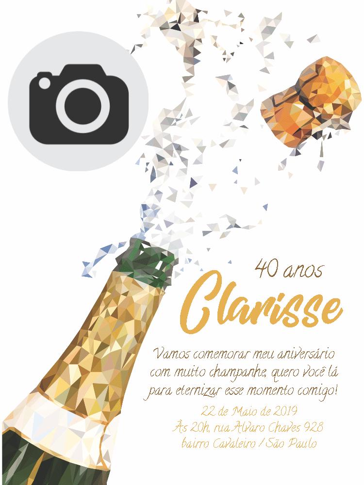 Convite Aniversário Champanhe, festa, bodas, foto, delicado, chique, elegante, comemoração, celebração, online, digital, personalizado, whatsapp