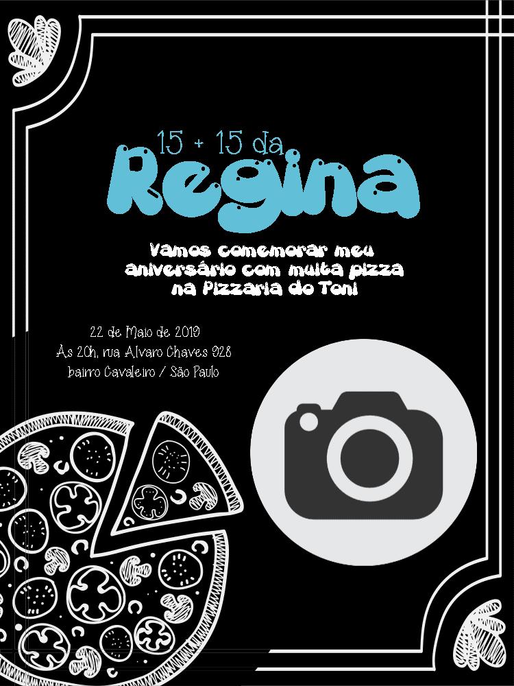 Convite Aniversário Pizzaria, preto, arabesco, foto, pizza, comemoração, celebração, online, digital, personalizado, whatsapp