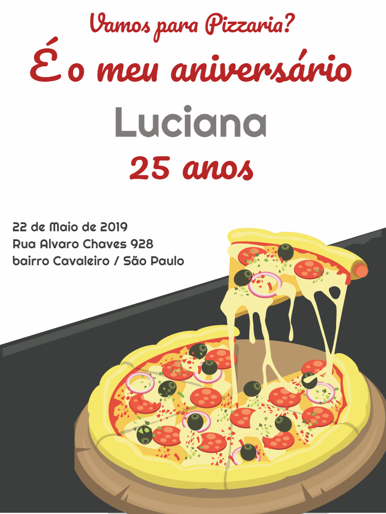 Convite Aniversário Pizzaria, pizza, cinza, branco, vermelho, comemoração, celebração, online, digital, personalizado, whatsapp, festa