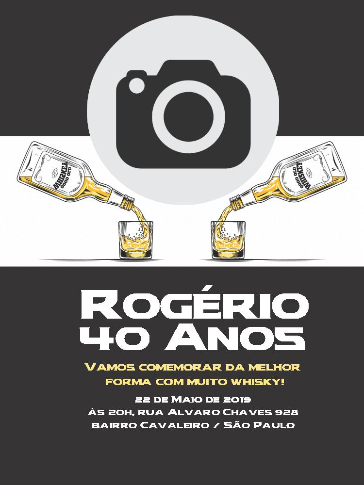 Convite Aniversário whisky, foto, bebida, drinque, adulto, comemoração, celebração, online, digital, personalizado, whatsapp, festa