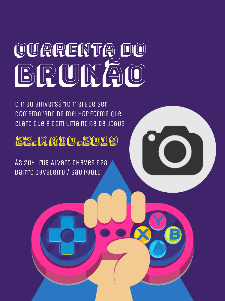 Convite Aniversário Videogame, game, foto, roxo, controle, comemoração, celebração, online, digital, personalizado, whatsapp, festa, jogos