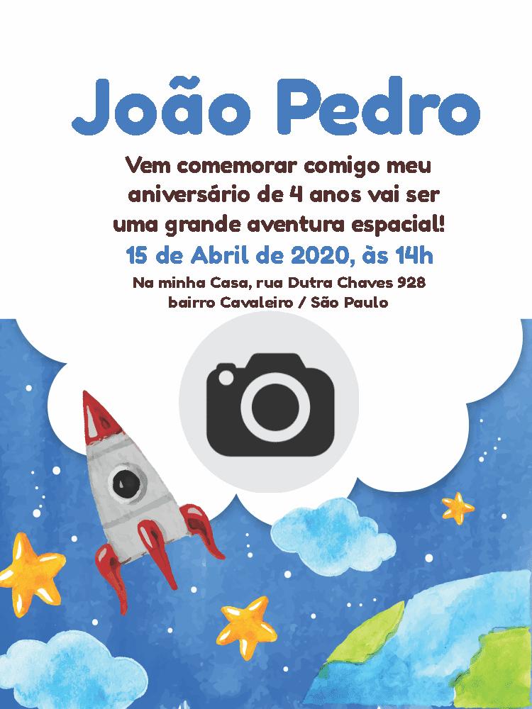 Convite Aniversário foguete, nuvem, foto, estrela, planeta, espaço, infantil, menino, comemoração, celebração, online digital, personalizado, whatsapp