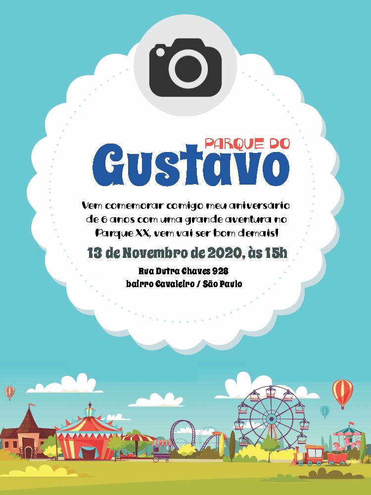 Convite Aniversário Parque de Diversões, foto, nuvem, infantil, menino, comemoração, celebração, online, digital, personalizado, whatsapp