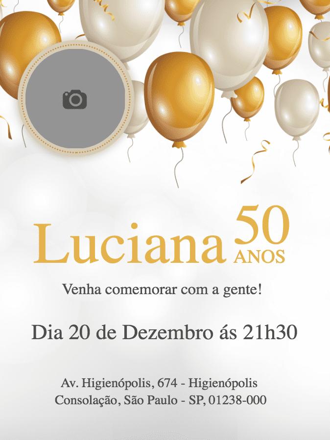 convite aniversário, festa, aniversário, 50 anos, balão, dourado, bodas, foto, comemoração, celebração, online, digital, personalizado, whatsapp
