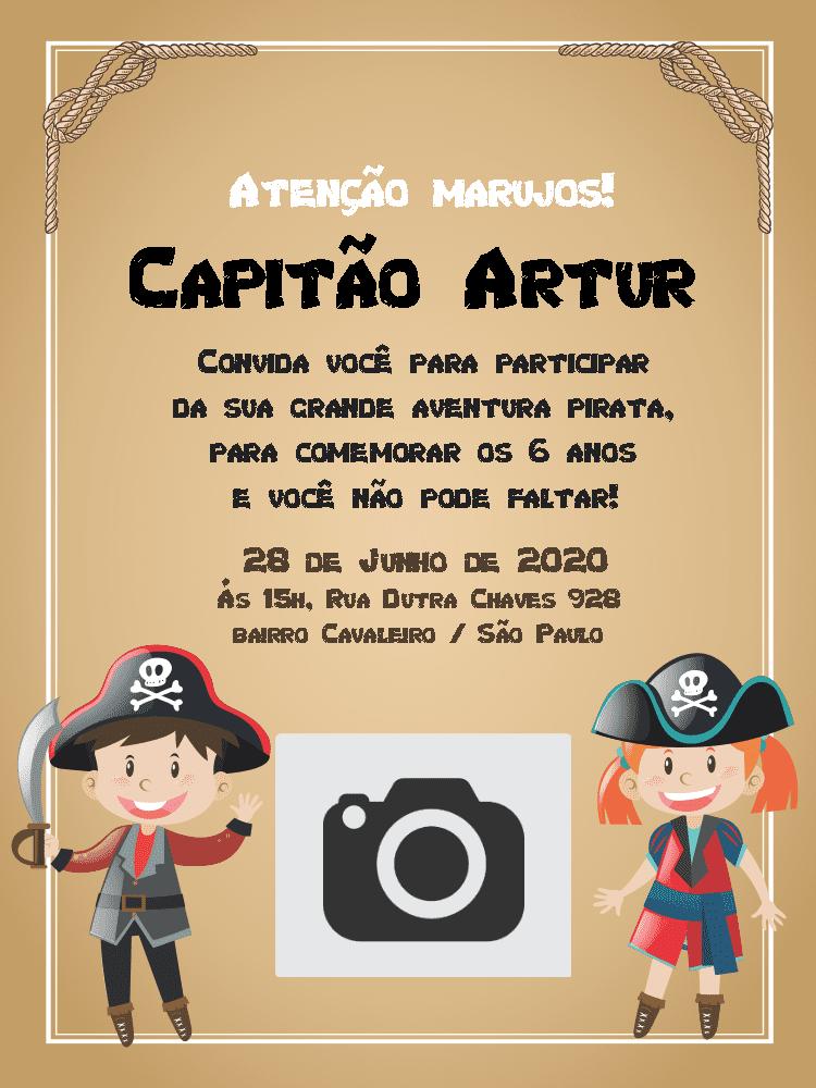 Convite Aniversário Piratas, marrom, corda, nó, oto, infantil, menino, menina, festa, comemoração, celebração, online, digital, personalizado, whatsapp