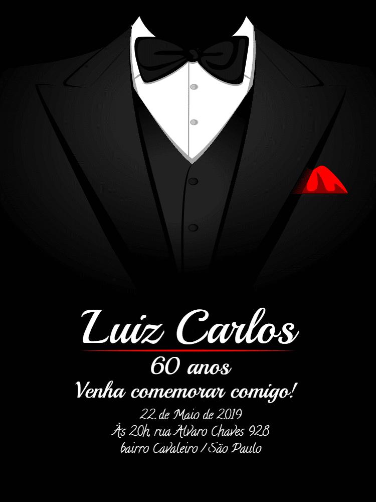 Convite Black Tie, esmoquin, gravata, elegante, homem, negócios, festa, comemoração, celebração, online, digital, personalizado, whatsapp, adulto