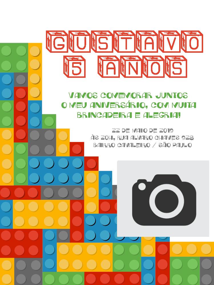 Convite Lego, foto, colorido, cubos, estrelas, menino, infantil, comemoração, celebração, online, digital, personalizado, whatsapp