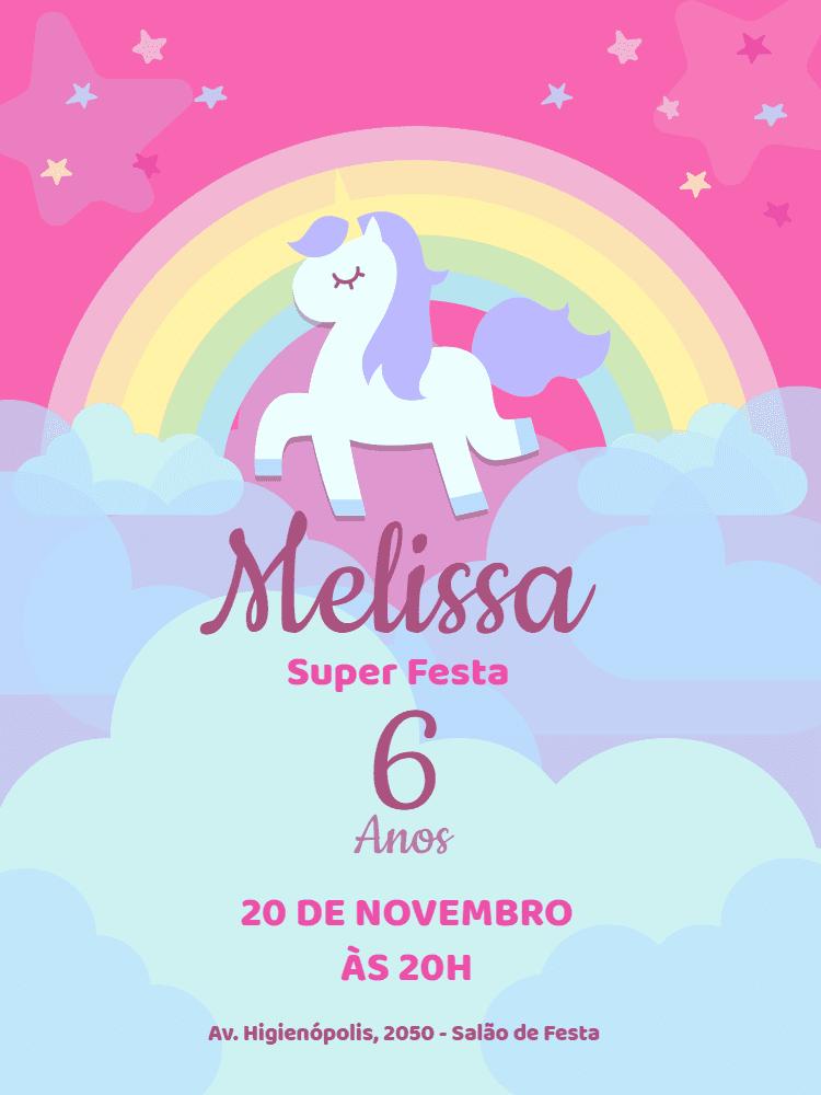 Convite aniversário unicórnio menina, aniversário, unicórnio, menina, rosa, estrela, nuvem, arco iris