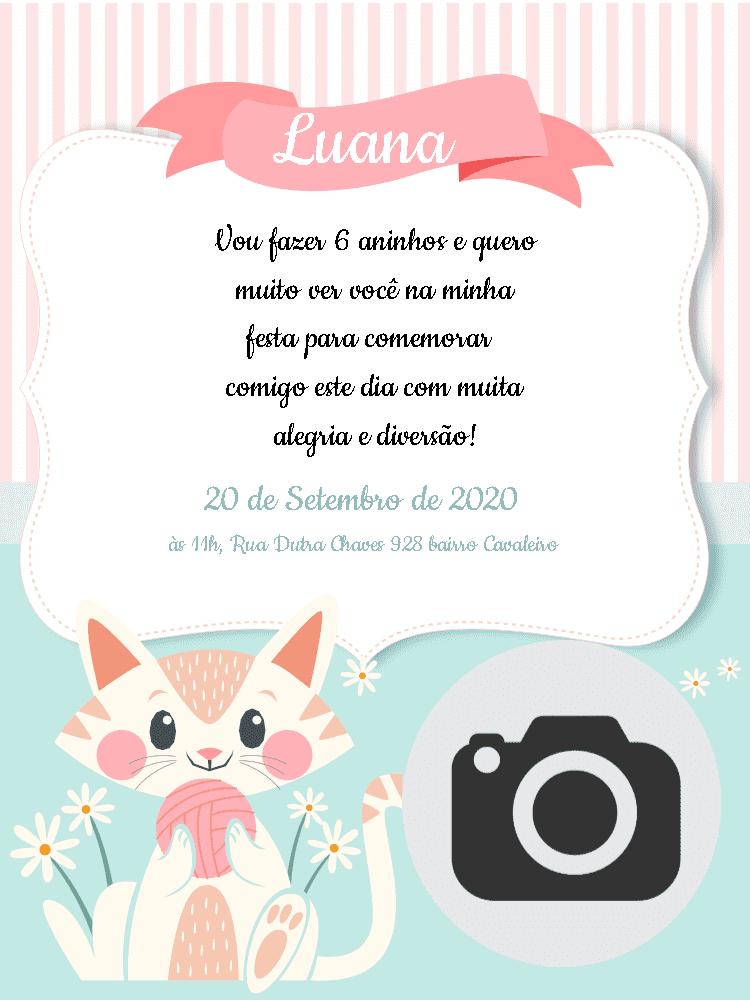 Convite Aniversário Gatinha, infantil, menina, rosa, listrado, azul, gato, delicado, festa, foto, comemoração, celebração, online, digital, personalizado, whatsapp