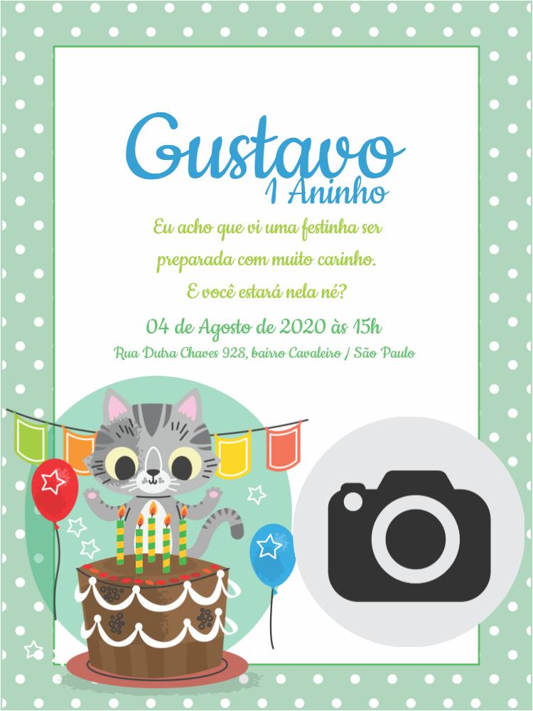 Convite Aniversário Gatinho, festa, infantil, menino, verde, bolhinhas, bandeirinhas, bolo, foto, comemoração, celebração, online, digital, personalizado, whatsapp, balão, balões
