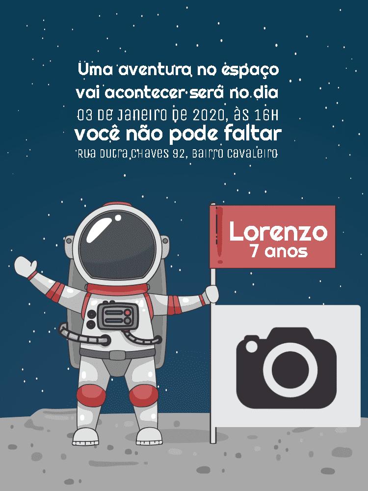 Convite Aniversário astronauta, espaço, lua, bandeira, infantil, menino, festa, comemoração, celebração, online, digital, personalizado, whatsapp