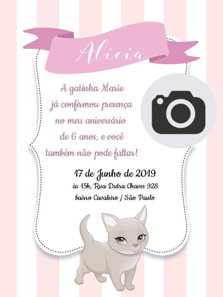 Convite Aniversário Gatinha Marie, festa, infantil, menia, rosa, listras, foto, gato, delicado, comemoração, celebração, online, digital, personalizado, whatsapp