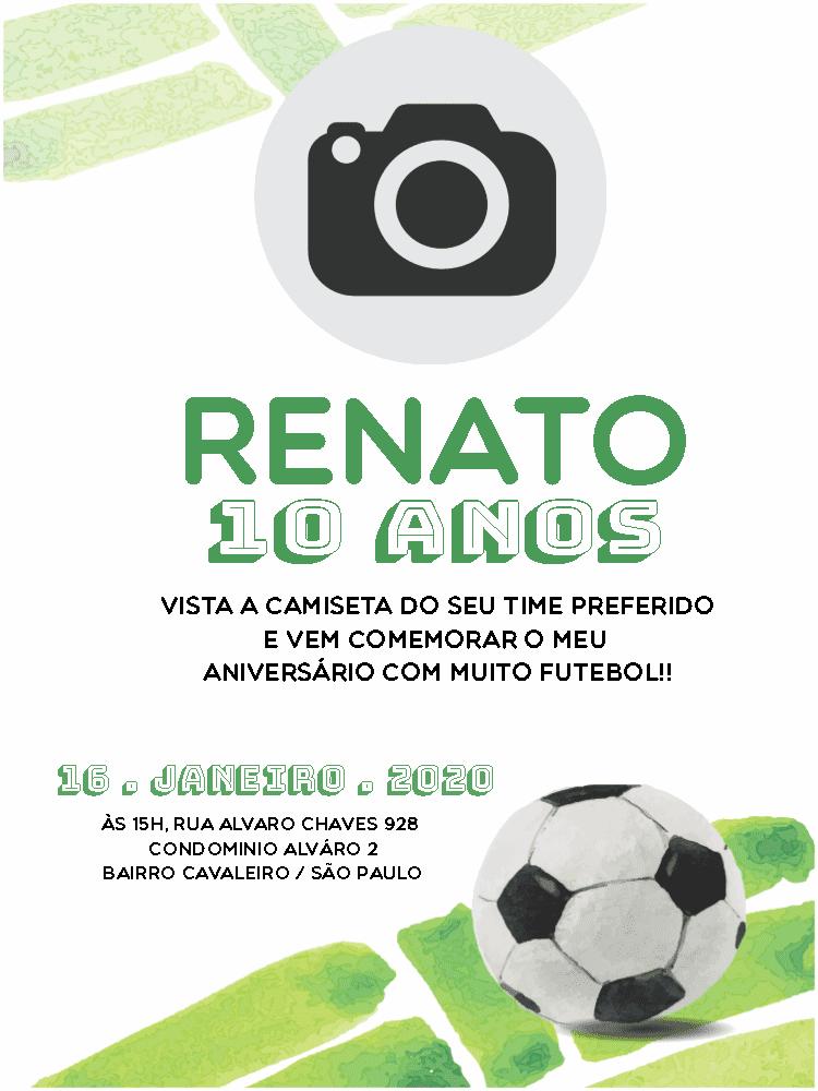 Convite Aniversário Futebol, verde, branco, foto, bola, infantil, menino, comemoração, celebração, online, digital, personalizado, whatsapp, festa