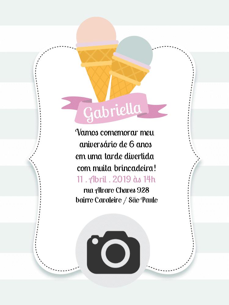 Convite Aniversário Sorvete, feminino, memina, delicado, foto, comemoração, celebração, online, digital, personalizado, whatsapp, festa