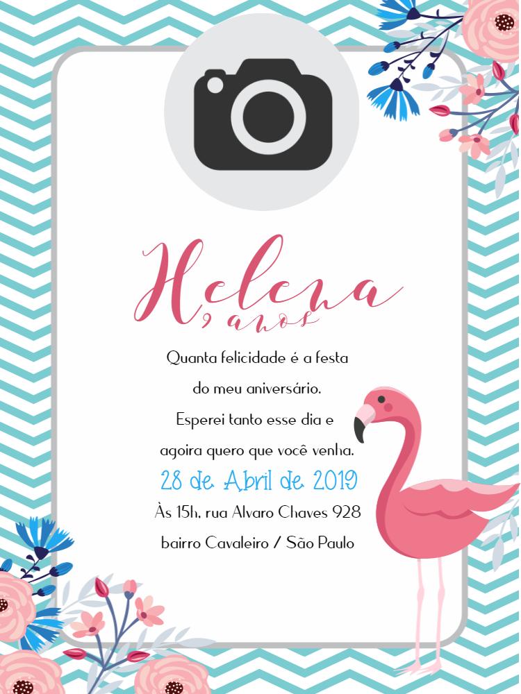 Convite Aniversário Flamingo, foto, festa, menina, delicado, feminino, primavera. flores, rosa, verde, branco, comemoração, celebração, online, digital, personalizado, whatsapp