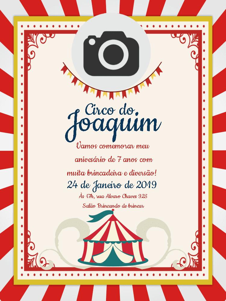 Convite Circo, foto, vermelho, branco, cartaz, festa, bandeirinhas, comemoração, celebração, online, digital, personalizado, whatsapp