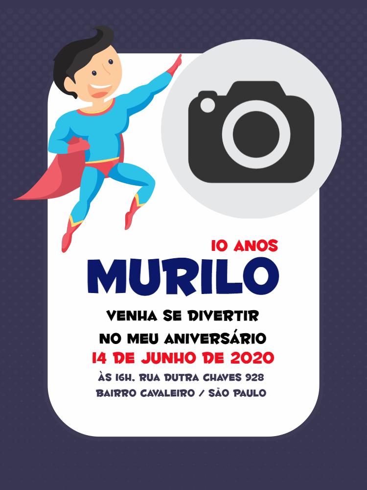 Convite  Aniversário Superman, foto, homem, menino, infantil, super, homem, festa, comemoração, celebração, online, digital, personalizado, whatsapp