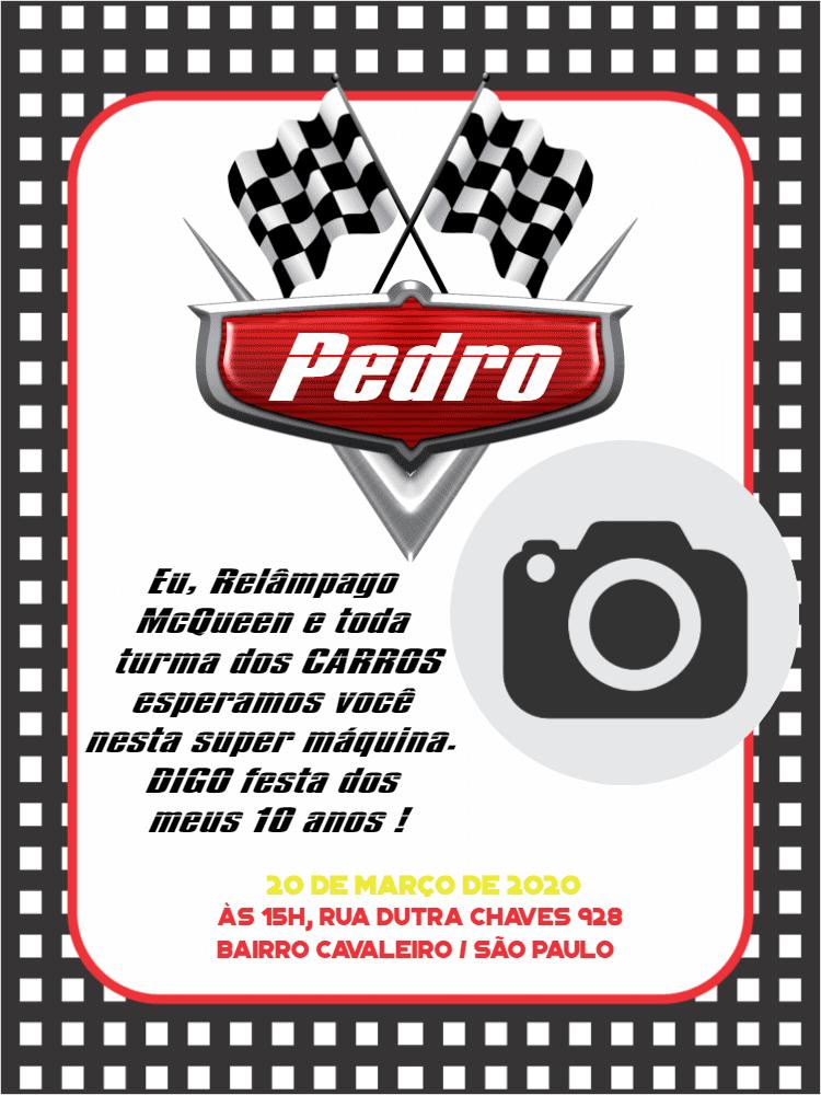 Convite Aniversário Carros, foto, pixar, relâmpago, menino, infantil, foto, preto, branco, comemoração, celebração, online, digital, personalizado, whatsapp