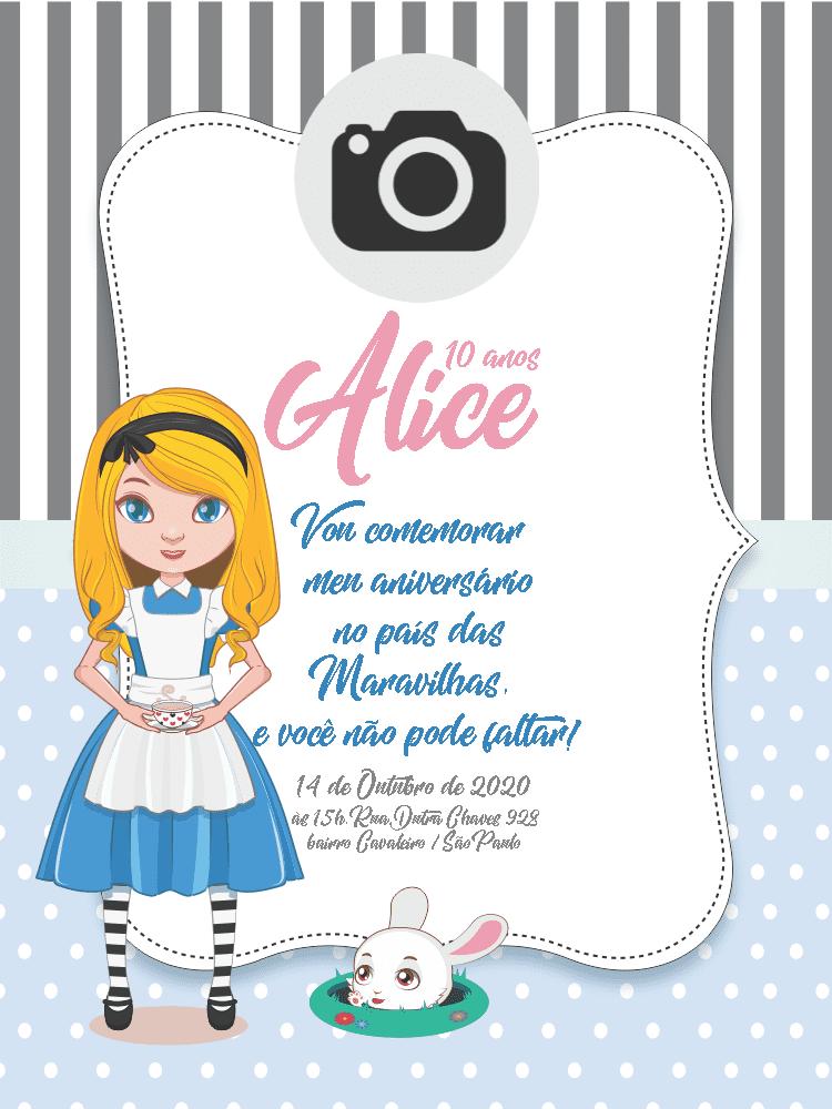 Convite Aniversário Alice no país das maravilhas, festa, infantil, menina, coelho, listras, bolhinhas, foto, delicado, comemoração, celebração, online, digital, personalizado, whatsapp