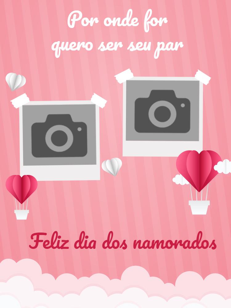 Cartão Dia dos namorados, rosa, balão, foto, romântico, feminino, felicitações, coração, online, digital, personalizado, whatsapp