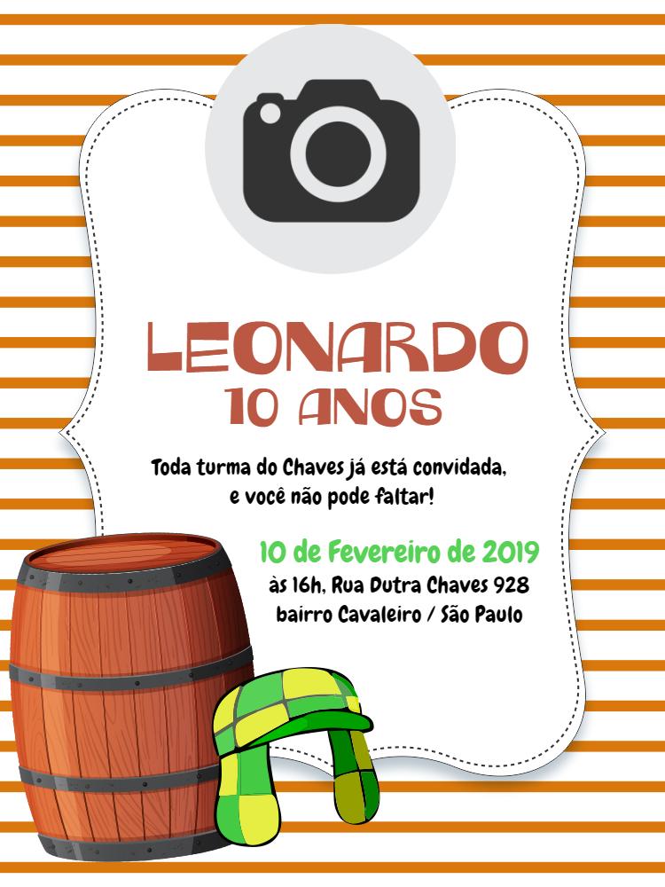 Convite Aniversário Chaves, infantil, festa, listrado, branco, laranja, toca, verde, foto, menino, comemoração, celebração, online, digital, personalizado, whatsapp, barril